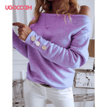 UGOCCAM Women Blouse Off Shoulder Long Sleeve Solid Casual Tops and Blouse Plus Size Office Ladies Basic Blouses ropa mujer ruffle blouse women shirt temperament fashion formal long sleeve blouse white blouse camiseta mujer office plus size ladies tops