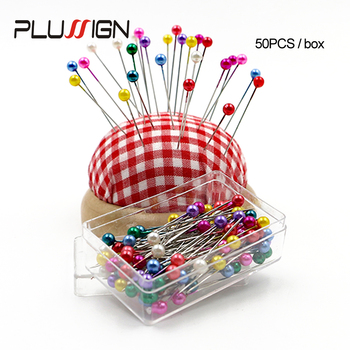Plussign Pearl Sewing Pins Ball Head For Dressmaking Jewelry Components Flower Decoration With Transparent Cases 50Pcs - discount item  31% OFF Hair Tools & Accessories