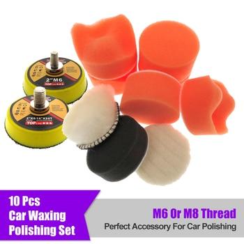 10Pcs/Set 2 Inch Car Buffing Polishing Pad Kit Clean Sponge Waxing Wheel Wool Ball Auto Sanding Pad M6/M8 Thread Car Repair Care недорого