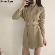 Женский пиджак с поясом sister fara длинный отложным воротником