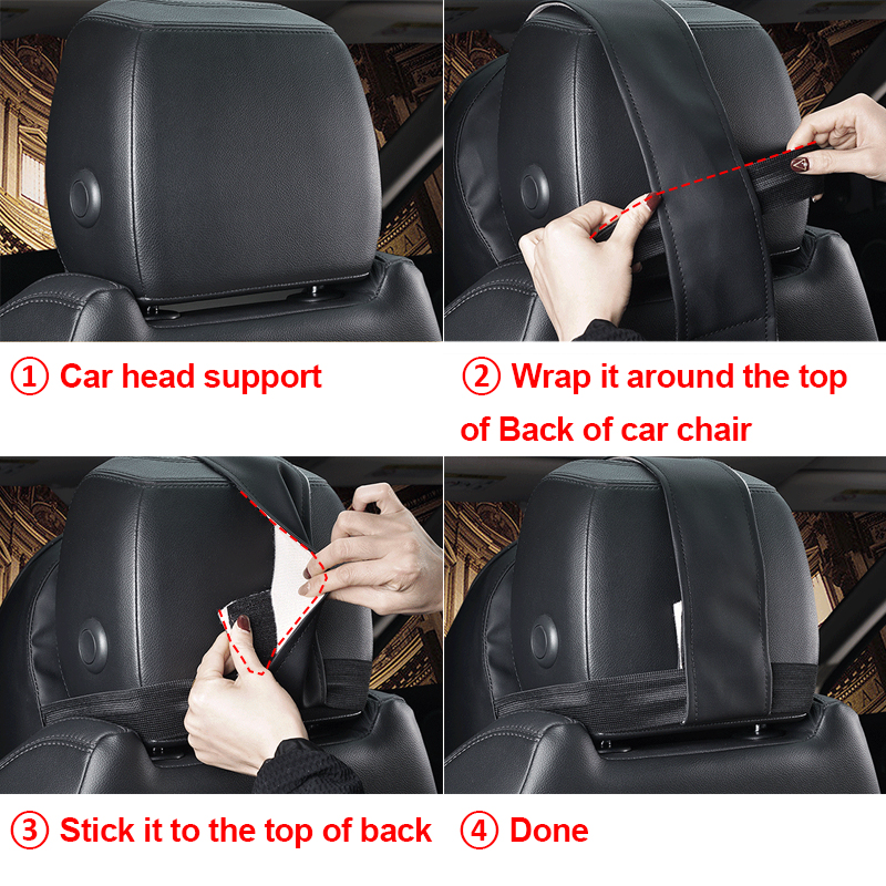 Universal 3D Memory Foam Warm PU Leather Car Seat Cushion Neck Pillow 21