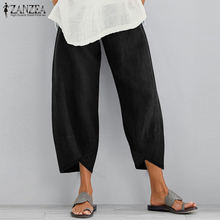ZANZEA Vintage Women Cotton Linen Wide Leg Pants Ladies Solid Asymmetric Long Trousers Casual Pockets Elastic Waist Cargo