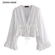 Cardigan Blouse Flare-Sleeve White Shirt Tops Vintage Women Tie Bow Bandage Voile Lacing-Up
