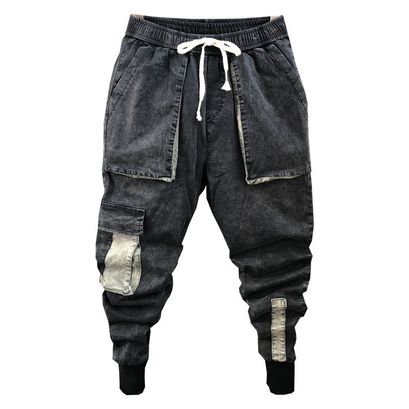 Idopy Men`s Denim Joggers Cargo Pockets Multi Pockets Slim Fit Elastic Waist Drawstring Ankle Cuffed Joggers Jeans For Male