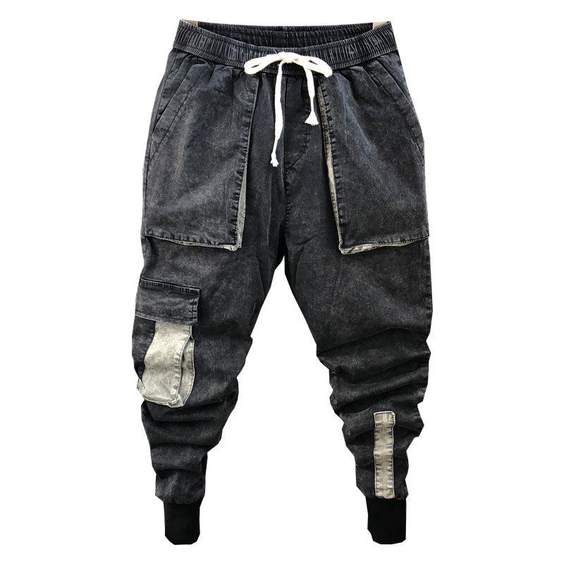Idopy Men`s Denim Joggers Cargo Pockets Multi Pockets Slim Fit Elastic Waist Drawstring Ankle Cuffed Joggers Jeans For Male