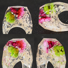 2019 Real Dried Flowers Silver Gold Foil Paper Inside Resin Ring For Women Engagement Party Wedding Bands Finger Rings Jewelry