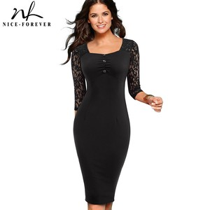 Image 4 - Nice forever Vintage Elegant Lace Patchwork Retro Square Collar vestidos Business Party Bodycon Work Office Women Dress B486