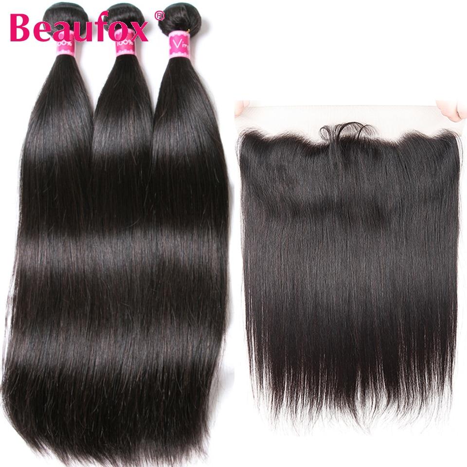 Beaufox-pelo ondulado brasileño con cierre Frontal, 3 mechones, pelo liso con extensiones de cabello humano mechones Remy frontales