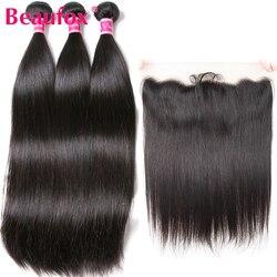 Beaufox brazylijski włosy wyplata 3 zestawy z przednim zamknięciem proste włosy z przednim Remy wiązki ludzkich włosów z przednim