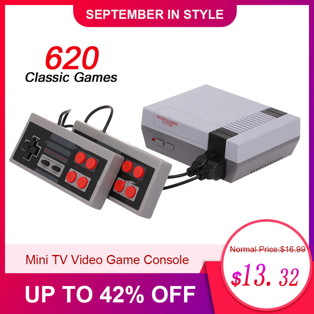 Mini TV Video Game Console Handheld Family Recreation Game Dual Gamepad AV Port Built-in 620 Classic Games Retro Gaming Player