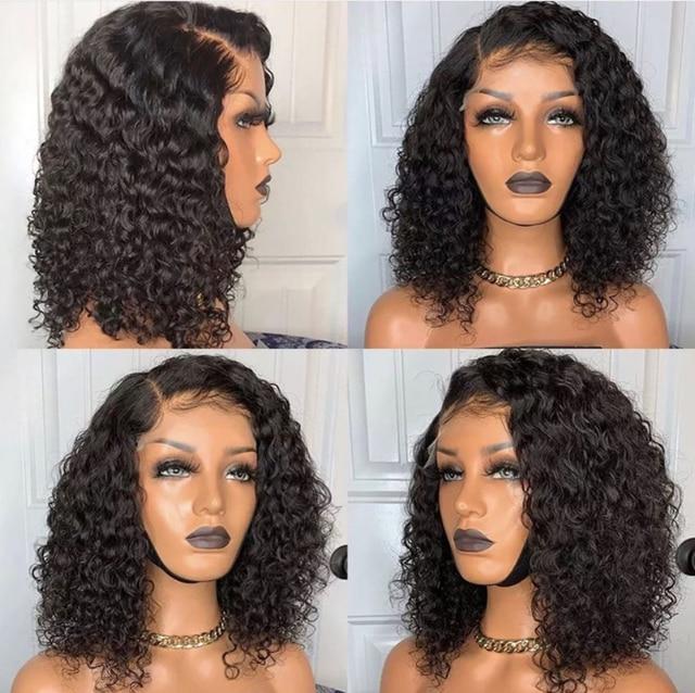 Kręcone koronki przodu włosów ludzkich Bob peruki z dziecięcymi włosami brazylijski dziewiczy włosy koronki przodu włosów ludzkich peruk dla kobiet pre-oskubane peruki