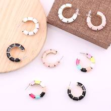 Statement Geometric Bridal Colorful Alloy Wedding Earrings For Women Ladies Party Gifts Fashion Stud Oorbellen Voor Vrouwen