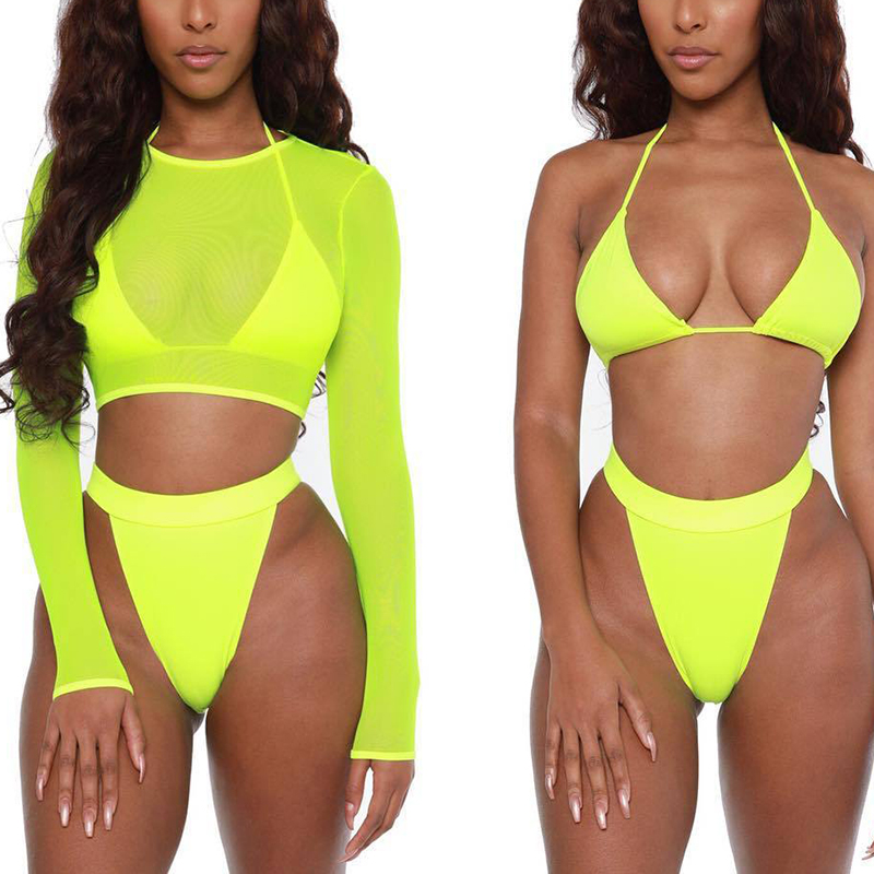 Неоново-зеленое бикини из 3 предметов 2020, купальник, женский сексуальный купальник с длинным рукавом, Женский комплект бикини с высокой тали...