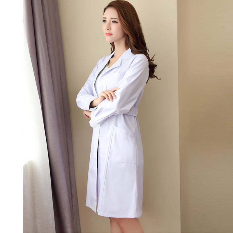 Women's Fashion Lab Coat Short Sleeve Doctor Nurse Dress Long Sleeve Medical Uniforms White Jacket With Adjustable Waist Belt