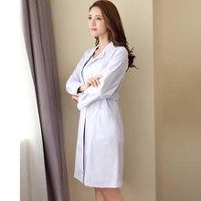 Женская мода в халате с коротким рукавом доктор медсестра платье с длинным медицинская одежда белая куртка с регулируемый пояс
