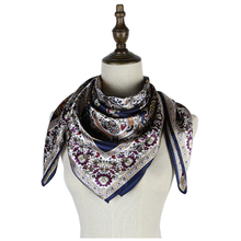 luxury brand mujer silk square scarf soft shawl head neck accessories femme hijab shawls 90*90cm high quality