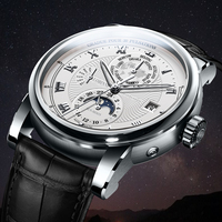 LOBINNI reloj de lujo para hombres Luna fase automático mecánico de los hombres Wirstwatches zafiro de tiempo del mundo reloj L16003-1