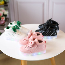 European Lovely princess children boots cute noble girls shoes hot sales LED butterfly kids sneakers