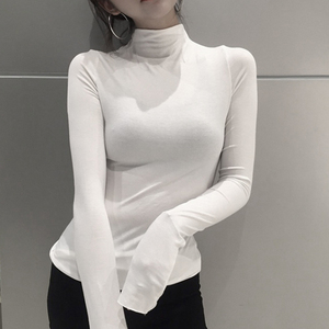 Pure Color Ladies Casual T Shirt Fashion Long Sleeved Bottoming Shirt High Neck Slim Harajuku Black And White All Match Top