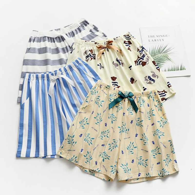 Summer Leisure Short Pants Women Sleep Bottoms Pajamas Print Cotton Loose Home Shorts