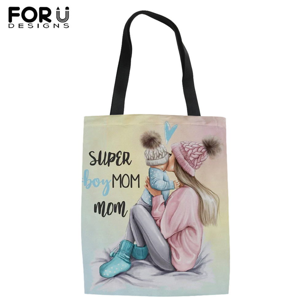 FORUDESIGNS Linen Tote Bag Women Reusable Shopping Bag Baby Mom Queen Girl Print Casual Female Canvas Handbag Lady Shoulder Bag