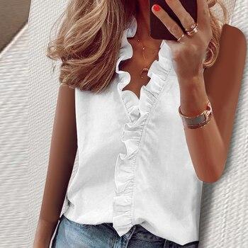 Ladies Tank Tops Summer Casual Ruffles V-Neck Sleeveless New Fashion Women's Clothing Soft Cozy Print Tops Solid Shirt Female 1