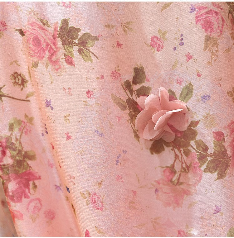 Women V-Neck Floral Appliques Chiffon Dress 2019 Summer Flare Sleeve Belt Flower Print Dress Empire Plus Size Mini Dresses 59