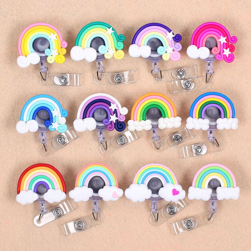 Colors Cloud Rainbow Retractable Creative Plastic Badge Holder Reel Student Nurse Exhibition Enfermera Girl Name Card Chest Card