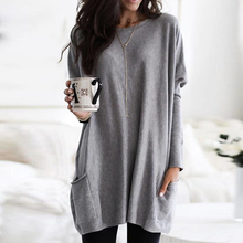 Women Fashion Long Sleeve Top Casual Solid Pocket T-Shirt Autumn Loose Plus Size Tops T-shirt Dress plus size patch pocket long sleeve plaid t shirt
