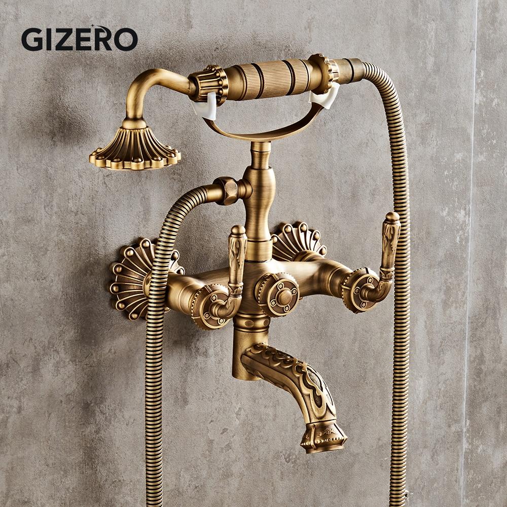 Banyo duş bataryası prinç antik Retro tarzı küvet duş seti duş başlığı musluk duvara monte duş musluk ZR023