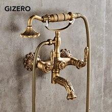 Смеситель для душа в ванную комнату из твердой латуни в античном стиле ретро набор для душа с ручным смесителем для душа настенный смесител...