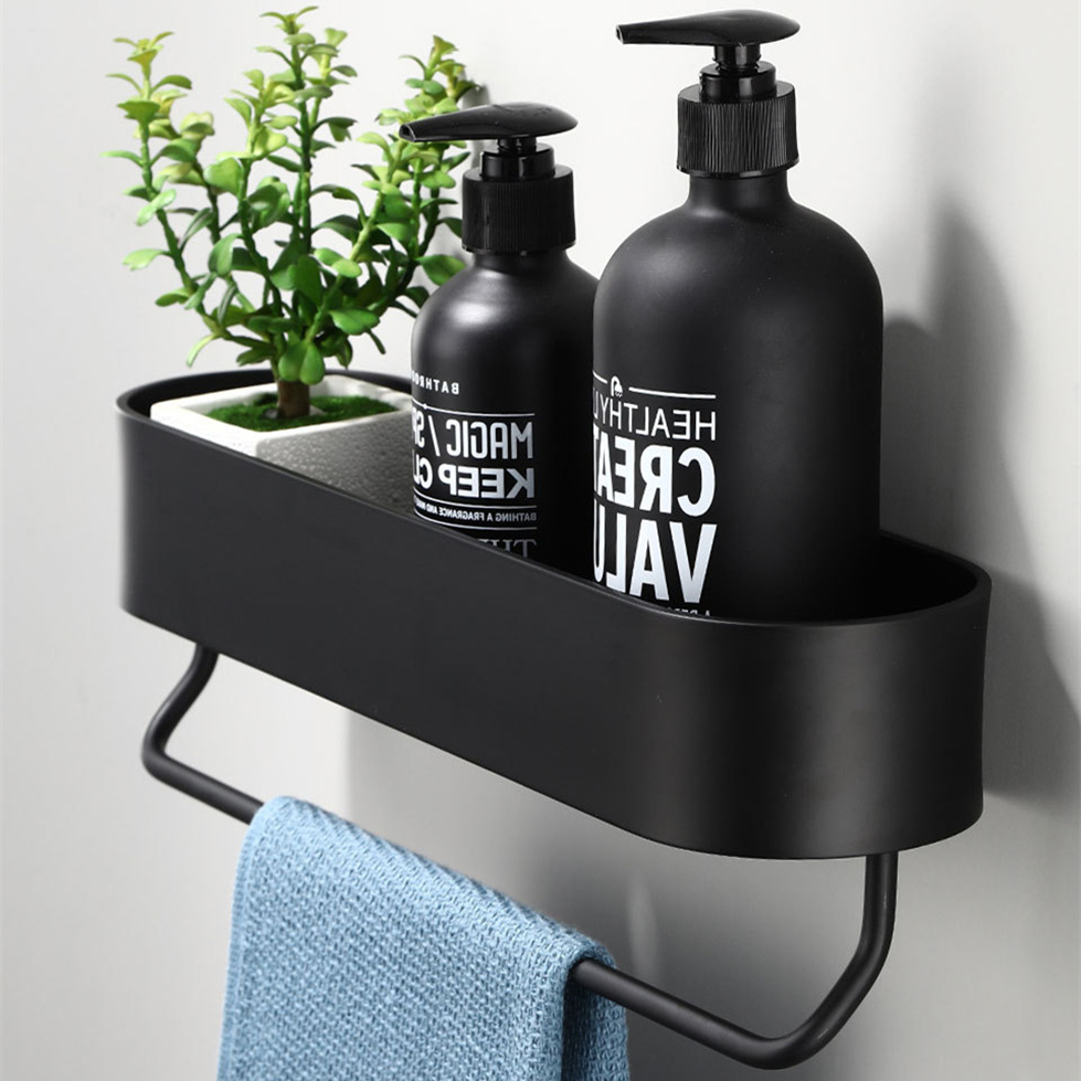 Black Bathroom Shelf 30-50cm Lenght Kitchen Wall Shelves Shower Basket Storage Rack Towel Bar Robe Hooks Bathroom Accessories
