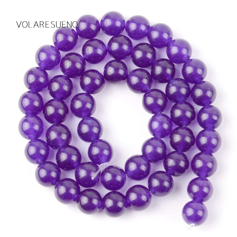 """Purple Jades Stone Natural Round Loose Beads 15"""" Pick 4 12m Spacer Beads For Charm Necklace Bracelet Accessory Jewelry Making in Beads from Jewelry Accessories"""