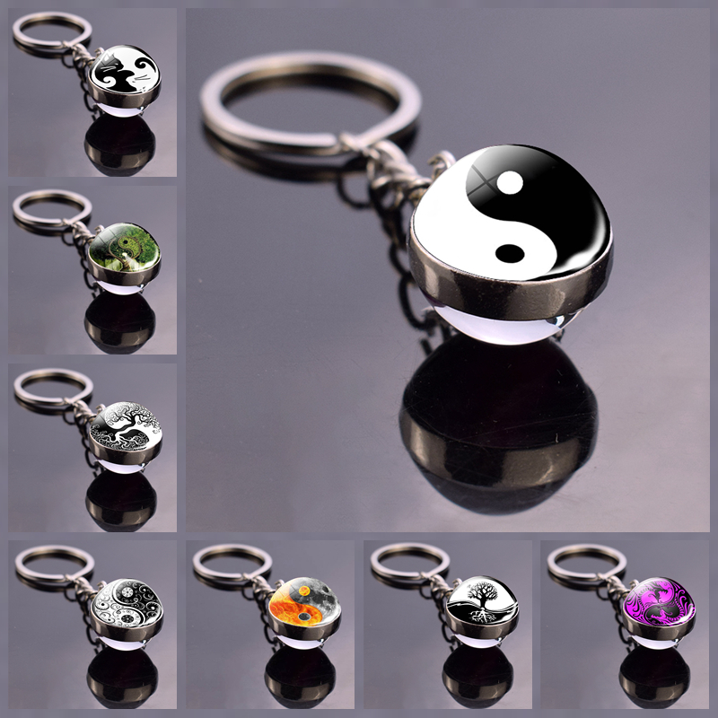 Yin Yang Keychain Yin And Yang Jewelry Glass Ball Key Chain Double Sided Keyring Yin Yang Jewelry Black And White Key Buckle