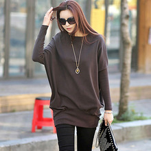 plus size sweatshirt women long with loose and sleeve keep warming solid casual oversize slim female cloth