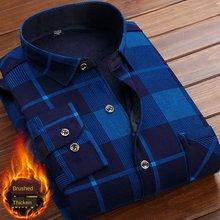 Outono inverno grosso veludo vestido camisa para homem casual manga longa forro de lã quente camisas moda flanela macia plus size 5xl