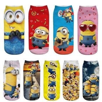 цена на Women's Summer Cartoon 3D Minions Print Cute Cotton Socks Harajuku Funny Little Yellow Man Pattern Personality Happy Short Socks