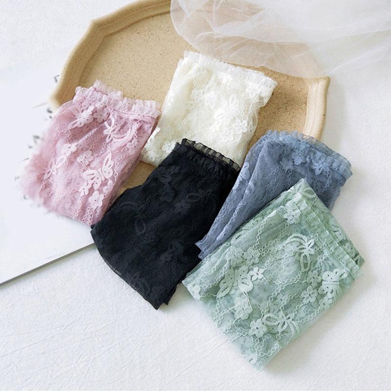 Arm Sleeve Arm Cover Fashion Soild Arm Cuff Ice Silk Lace Butterfly Sunscreen