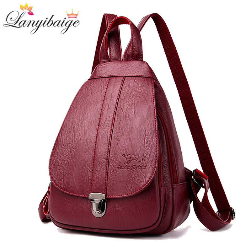 2019 Hot Women Leather Backpacks Women High Capacity Shoulder Bag Fashion School Bags For Teenage Girls Leisure Travel Backpack