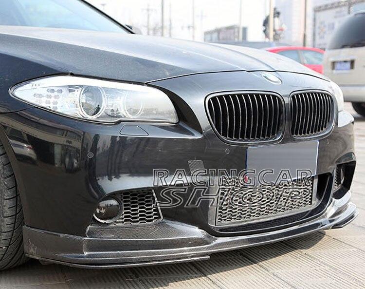3D stijl Real CARBON FIBER LIP SPOILER 3pcs VOOR BMW F10 M-TECH bumper 532i 528i 530i 535i 550i 2011UP B183