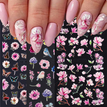 1Sheet 5D Embossed Nail Sticker Colorful Flower With Textured Water Slider Water Decal Nail Art Self Adhesive DIY Decal Sticker