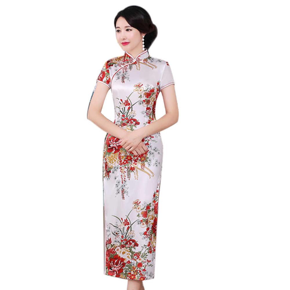 Chinesischen Stil Blume Druck Stehen Kragen Kurzarm Frauen Schlitz Cheongsam Kleid Kurzarm Frauen Schlitz Cheongsam Kleid Chinesischen