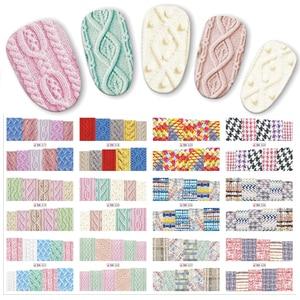 12 шт./компл. красивая ткань для свитера, наклейка с рисунком, водная переводная наклейка для ногтей, наклейки для ногтей, фотообои