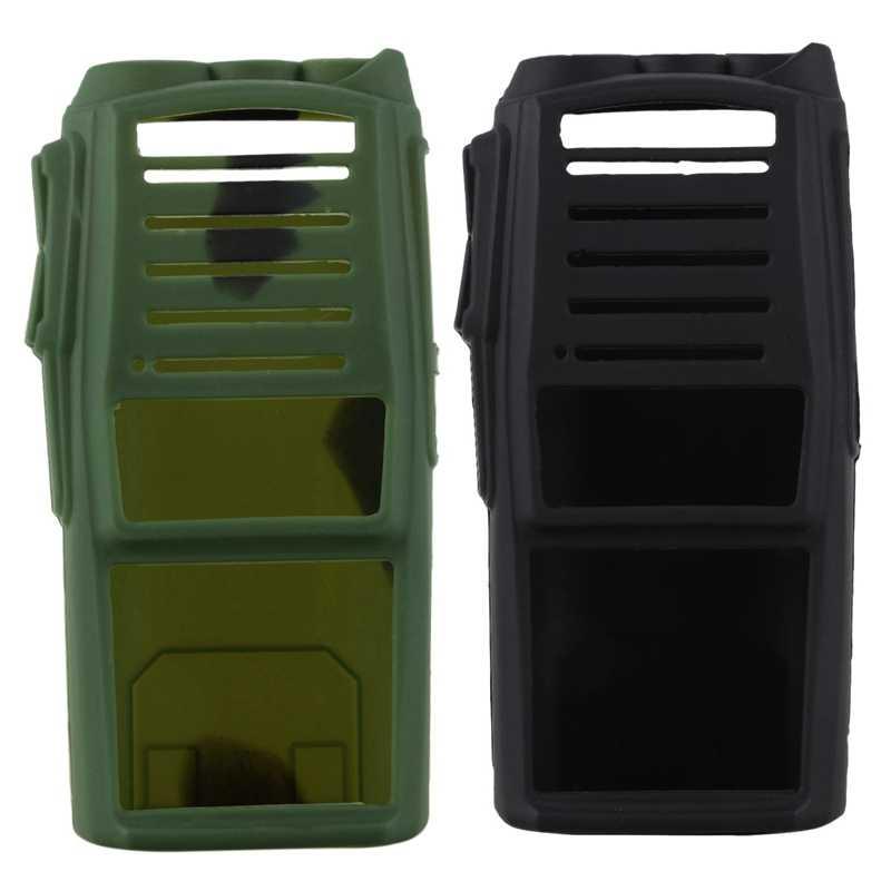 2 Pcs Handheld Radio Siliconen Cover Bescherm Case Voor Baofeng Uv-82, Zwart & Camouflage