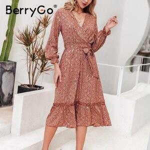 Image 3 - BerryGo v 넥 프린트 봄 여름 드레스 여성 우아한 긴 소매 주름 사무 작업 드레스 a 라인 숙녀 긴 드레스 vestidos