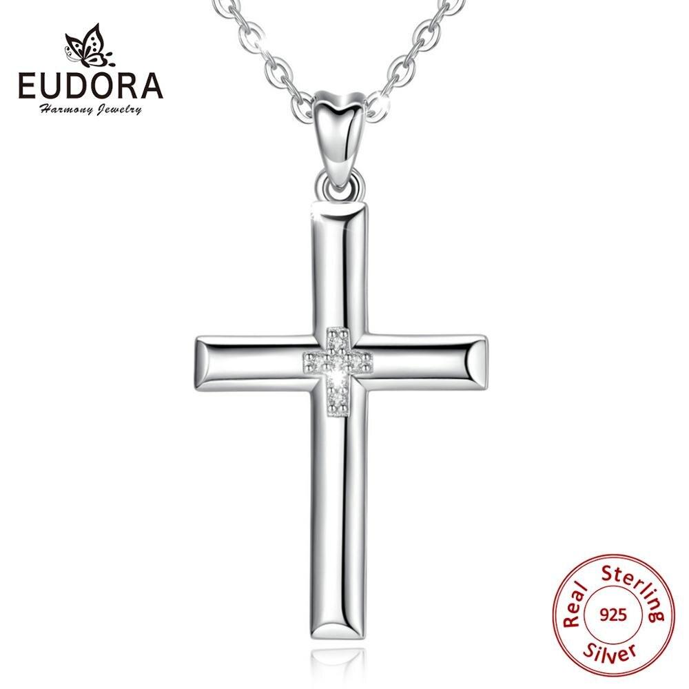 Collar con colgante de cruz de plata de ley 925 EUDORA, collar con Cruz de cristal de plata sólida, joyería fina Con caja para mujer y hombre CYD468