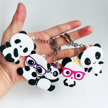 1 pcs/5 pcs Party Decoraties Leuke Panda PVC Sleutelhanger Decoratie Baby Shower DIY Huwelijksgeschenken Geven Gasten Gelukkig verjaardagscadeautjes-C(China)