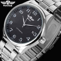 WINNER famous brand men business automatic self wind watches auto date man fashion mechanical wristwatches stainless steel band