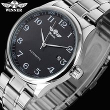 Kazanan ünlü marka erkek iş otomatik kendini rüzgar saatler otomatik tarih adam moda mekanik kol saatleri paslanmaz çelik şerit