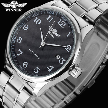 цена на WINNER famous brand men business automatic self wind watches auto date man fashion mechanical wristwatches stainless steel band
